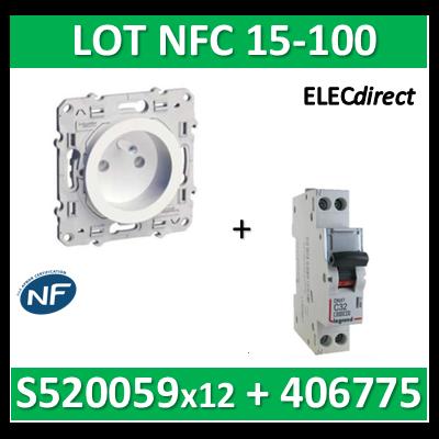 Schneider Odace - LOT NFC 15-100 - PC 2P+T + disjoncteur DNX3 20A - s520059x12+406775