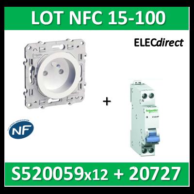 Schneider Odace - LOT NFC 15-100 - PC 2P+T + disjoncteur XP 20A - s520059x12+20727