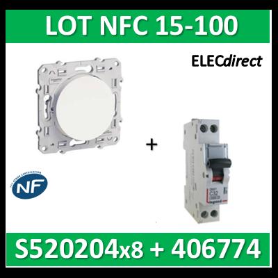 Schneider Odace - LOT NFC 15-100 - Va et vient + disjoncteur DNX3 16A - s520204x8+406774