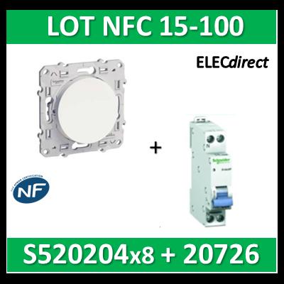 Schneider Odace - LOT NFC 15-100 - Va et vient + disjoncteur XP 16A - s520204x8+20726
