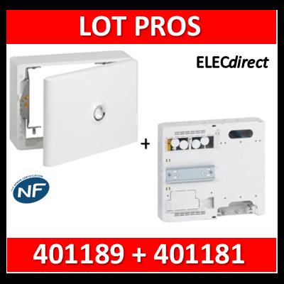 Legrand - LOT PROS - Platine pour Disjoncteur branchement + Compteur - DRIVIA 18M + habillage + porte - 401181+401189