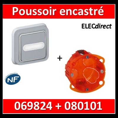 Legrand Plexo - Poussoir plexo sonnerie porte étiquette encastré + boîte batibox - IP55/IK07 - 069824+080101