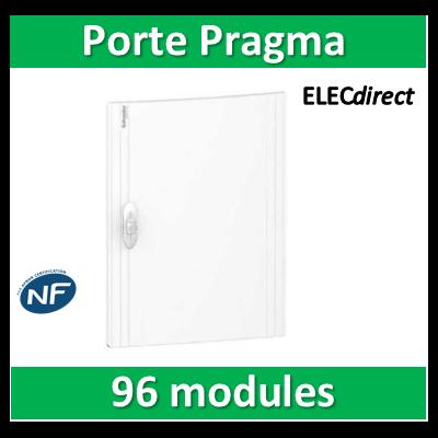 Schneider - Porte opaque blanche coffret PRAGMA IP40/IK09 - 4 rangées 24 modules - PRA16424