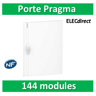 Schneider - Porte opaque blanche coffret PRAGMA IP40/IK09 - 6 rangées 24 modules - PRA16624
