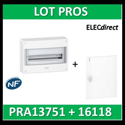 Schneider - Coffret électrique PRAGMA 18 modules - 1R de 18M + porte opaque - PRA13751+PRA16118