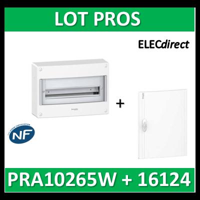 Schneider - Coffret électrique PRAGMA 24 modules - 1R de 24M + porte opaque - PRA10265W+PRA16124