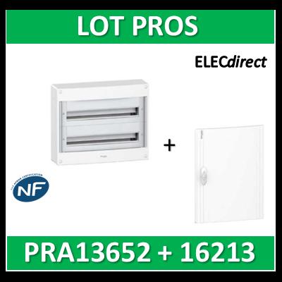 Schneider - Coffret électrique PRAGMA 26 modules - 2R de 13M + porte opaque - PRA13652+PRA16213