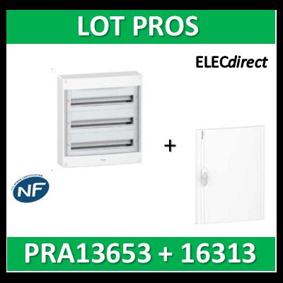 Schneider - Coffret électrique PRAGMA 39 modules - 3R de 13M + porte opaque - PRA13653+PRA16313
