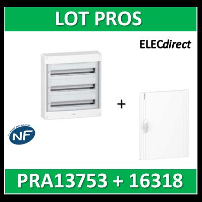 Schneider - Coffret électrique PRAGMA 54 modules - 3R de 18M + porte opaque - PRA13753+PRA16318