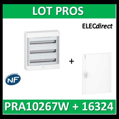 Schneider - Coffret électrique PRAGMA 72 modules - 3R de 24M + porte opaque - PRA10267W+PRA16324
