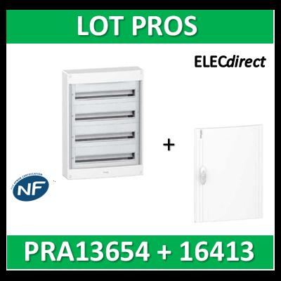 Schneider - Coffret électrique PRAGMA 52 modules - 4R de 13M + porte opaque - PRA13654+PRA16413