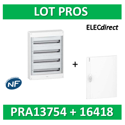 Schneider - Coffret électrique PRAGMA 72 modules - 4R de 18M + porte opaque - PRA13754+PRA16418