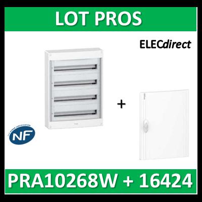 Schneider - Coffret électrique PRAGMA 96 modules - 4R de 24M + porte opaque - PRA10268W+PRA16424