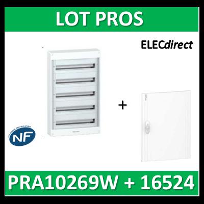 Schneider - Coffret électrique PRAGMA 120 modules - 5R de 24M + porte opaque - PRA10269W+PRA16524