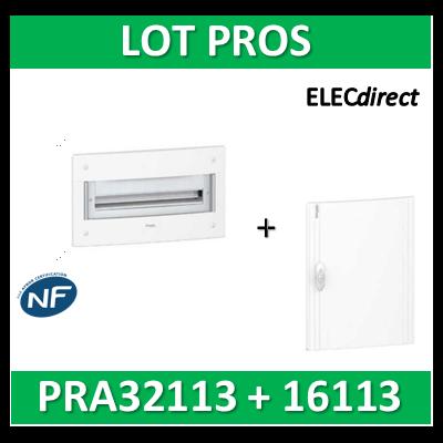 Schneider - Coffret électrique PRAGMA - encastré - 1R de 13M + porte opaque - PRA32113+PRA16113