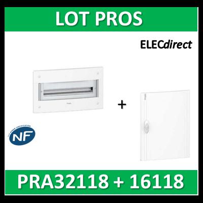 Schneider - Coffret électrique PRAGMA - encastré - 1R de 18M + porte opaque - PRA32118+PRA16118