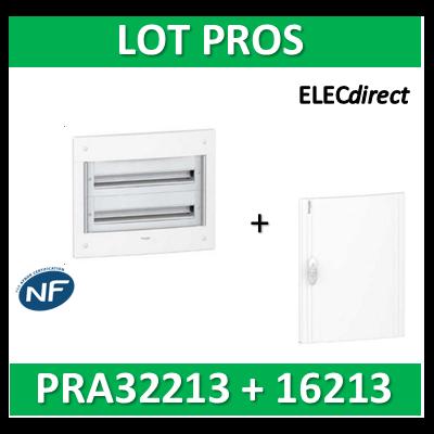 Schneider - Coffret électrique PRAGMA - encastré - 2R de 13M + porte opaque - PRA32213+PRA16213