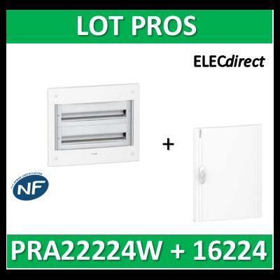 Schneider - Coffret électrique PRAGMA - encastré - 2R de 24M + porte opaque - PRA22224W+PRA16224