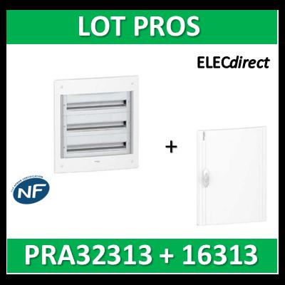 Schneider - Coffret électrique PRAGMA - encastré - 3R de 13M + porte opaque - PRA32313+PRA16313
