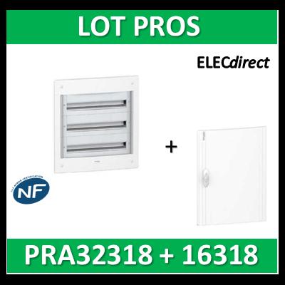 Schneider - Coffret électrique PRAGMA - encastré - 3R de 18M + porte opaque - PRA32318+PRA16318