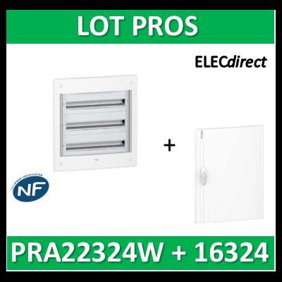 Schneider - Coffret électrique PRAGMA - encastré - 3R de 24M + porte opaque - PRA22324W+PRA16324