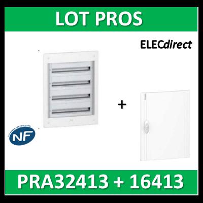 Schneider - Coffret électrique PRAGMA - encastré - 4R de 13M + porte opaque - PRA32413+PRA16413