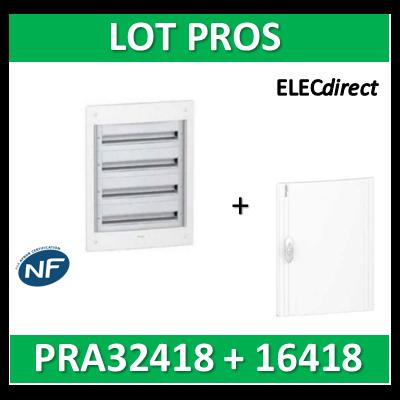 Schneider - Coffret électrique PRAGMA - encastré - 4R de 18M + porte opaque - PRA32418+PRA16418