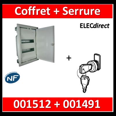 Legrand - Coffret encastrable 24 + 4 modules - 2 rangées de 14M + serrure - 001512+001491