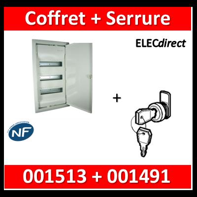 Legrand - Coffret encastrable 36 + 6 modules - 3 rangées de 14M + serrure - 001513+001491