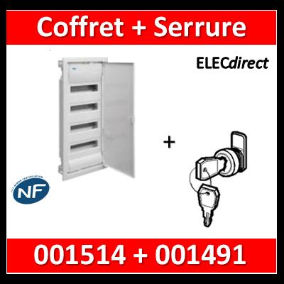 Legrand - Coffret encastrable 48 + 8 modules - 4 rangées de 14M + serrure - 001514+001491