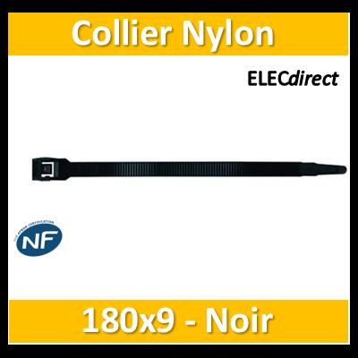 Sapiselco - Collier de fixation nylon - noir - 180x9 - boîte de 100