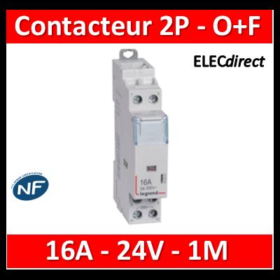 Legrand - Contacteur bobine 24V~ 2P - 250V 16A - O+F - 412503