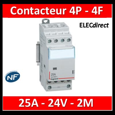 Legrand - Contacteur bobine 24V~ 4P - 400V~ 25A - 4F - 412510