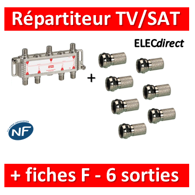Legrand - Répartiteur TV/Satellite - 6 sorties + Fiche F - 073983+fiche F x 7