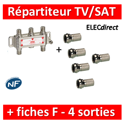 Legrand - Répartiteur TV/Satellite - 4 sorties + Fiche F - 073982+fiche F x 5