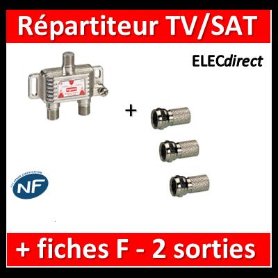 Legrand - Répartiteur TV/Satellite - 2 sorties + Fiche F - 073980+fiche F x3