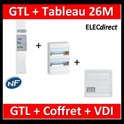 Legrand - Kit GTL 13M complet + tableau 26M + VDI 8RJ45 - 030037+401212+413219