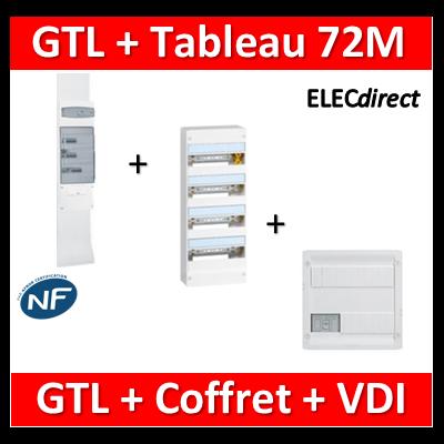 Legrand - Kit GTL 18M complet + tableau 72M + VDI 4RJ45 - 030067+401224+418248