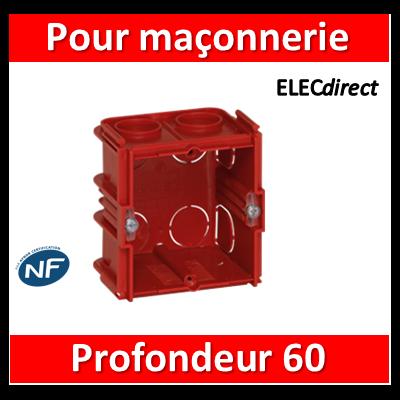 Legrand - Boîte monoposte Batibox - maçonnerie - carrée associable - prof. 60 - 080161