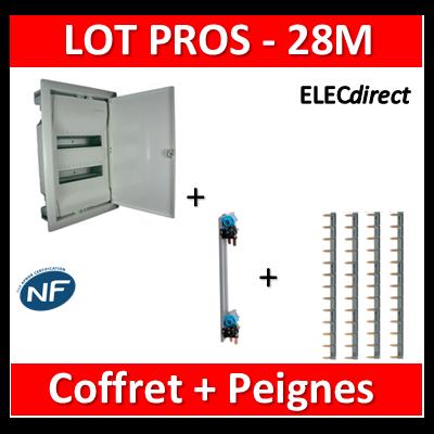 Legrand - LOT Coffret encastrable 28M + Peignes V et H - Porte Métal - 001532+405000+404926x4