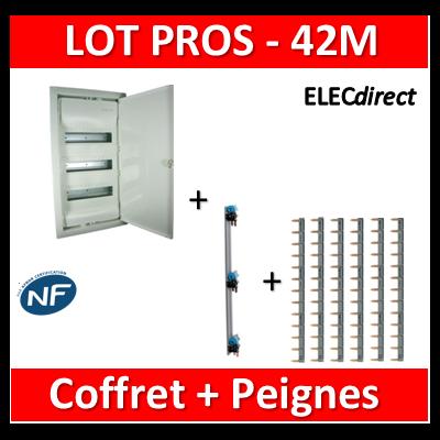 Legrand - LOT Coffret encastrable 42M + Peignes V et H - Porte Métal - 001533+405001+404926x6