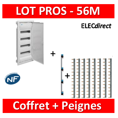 Legrand - LOT Coffret encastrable 56M + Peignes H et V - Porte Métal - 001534+405002+404926x8