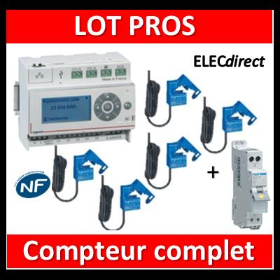 Legrand - ECOcompteur RT2012 - 5 entrées 230V MONO + Protection 2A - 412000 + 412002x5 + MFS702