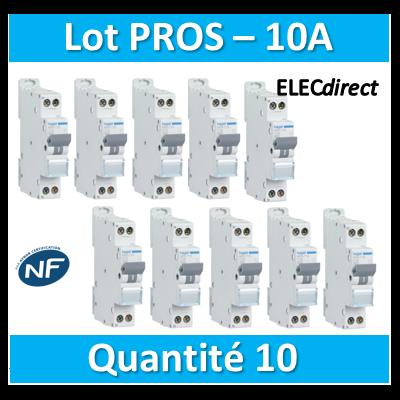 DISJONCTEUR HAGER  - LOT PROS - 1P+N - 10A - VIS/VIS - MFN710x10