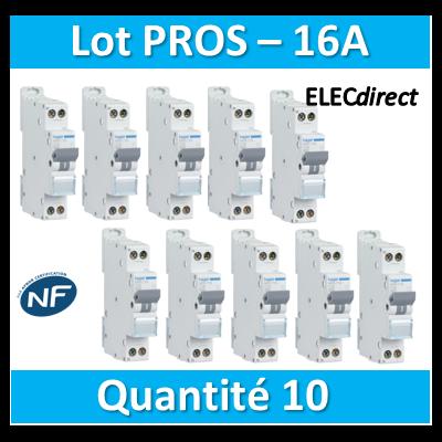 DISJONCTEUR HAGER  - LOT PROS - 1P+N - 16A - VIS/VIS - MFN716x10
