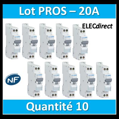 DISJONCTEUR HAGER  - LOT PROS - 1P+N - 20A - VIS/VIS - MFN720x10