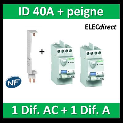 SCHNEIDER - DIF. XP + peigne - (1 - ID 2x40A 30mA AC/1 - ID 2x40A 30mA A) 23160+23158+14900