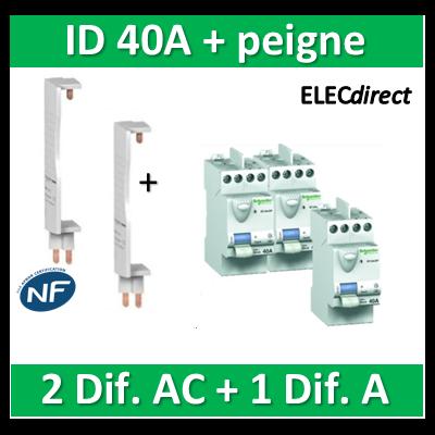 SCHNEIDER - DIF. XP + peigne - (2 - ID 2x40A 30mA AC/1 - ID 2x40A 30mA A) 23160x2+23158+14900x2