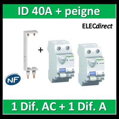 SCHNEIDER - DIF. XE + peigne - (1 - ID 2x40A 30mA AC/1 - ID 2x40A 30mA A) 16160+16158+14910