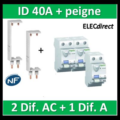 SCHNEIDER - DIF. XE + peigne - (2 - ID 2x40A 30mA AC/1 - ID 2x40A 30mA A) 16160x2+16158+14910x2